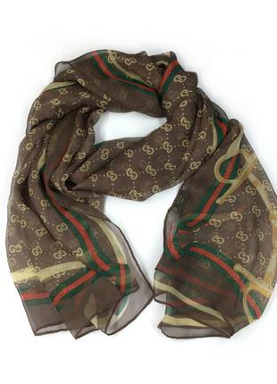 Женский шарф платок gucci monogram silk scarf шелк