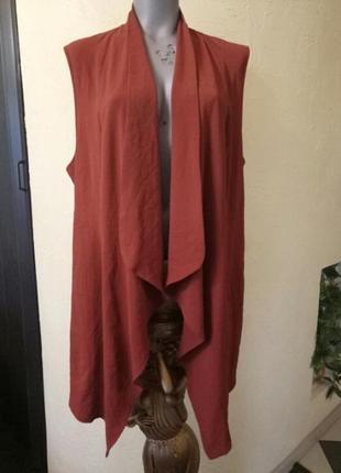 Длинная жилетка,жакет,кардиган терракотового цвета,батал,большой размер