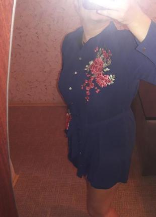 Красивое платье-рубашка туника в стиле вышиванки