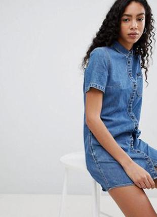 Джинсовое платье рубашку boohoo
