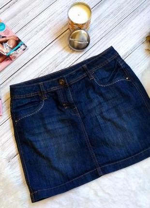 Крутая летняя джинсовая юбка с потертостями размер 12-14(44)