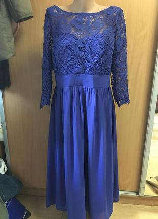 Вечернее выпускное платье с открытой спинкой  миди размер 16