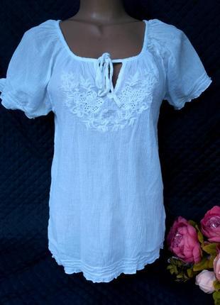 Легкая натуральная хлопковая блузка с прошвой размер 10(38-40)