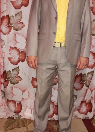 Классический, деловой, летний, светлый костюм