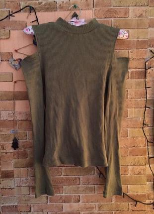 Кофточка, кофта с разрезами на плечах, спущенные плечи, оливковая, хаки футболка