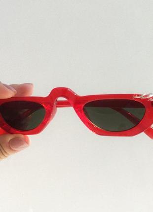 Трендовые узкие красные очки / имиджевые очки / красные солнцезащитные очки