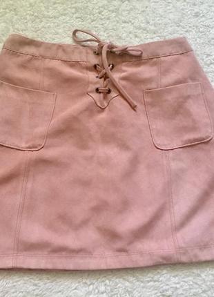 Стильная юбка с завязками цвета пудры под замш💕