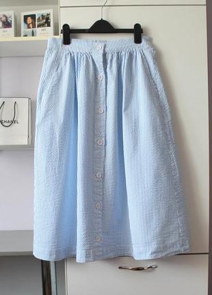 Хлопковая юбка в полоску на пуговичках от h&m