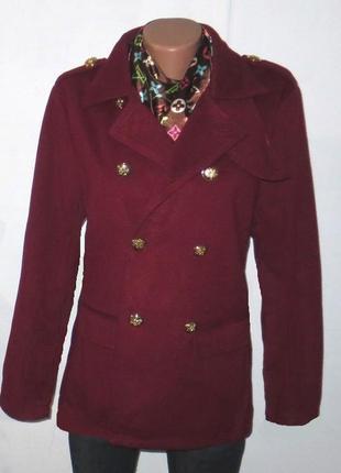 Роскошное бордовое пальто от vska размер: 46-м