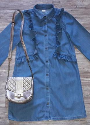 Джинсовое платье  рубашка с рюшами