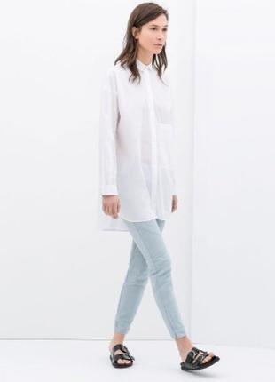 Zara. базовая удлиненная рубашка свободного кроя. 100% хлопок