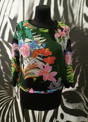 Блуза кофточка свитшот худи шифон принт цветы скидка до 28.06