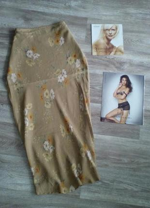Красивая , золотая юбка в цветочный принт 16   minuet  акция 1+1 = 3 🎁