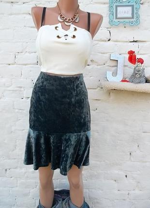 Отличная велюровая юбка с воланом, , размер -см, новая