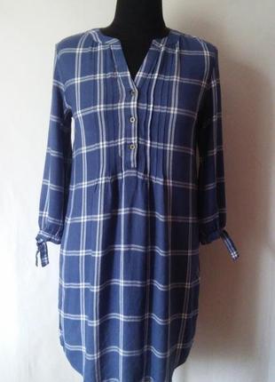 Платье-рубашка в клетку вискоза