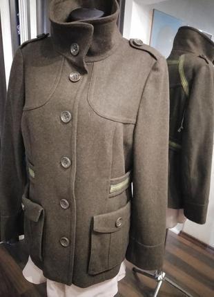 Шерстяной жакет пальто милитари стиль