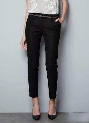 Zara базовые укороченные брюки слаксы хс-с