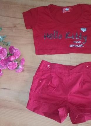 Модные шортики и топик на 3-4 годика