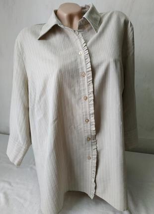 Блуза в полоску беж большой размер