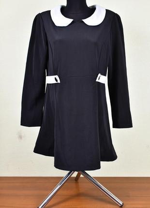 Платье шифоновое черное с белой отделкой