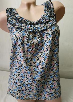 Блуза в цветочный принт хлопок