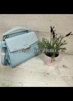Женственная сумка от david jones с листиком (брошкой) 6001-2t голубой