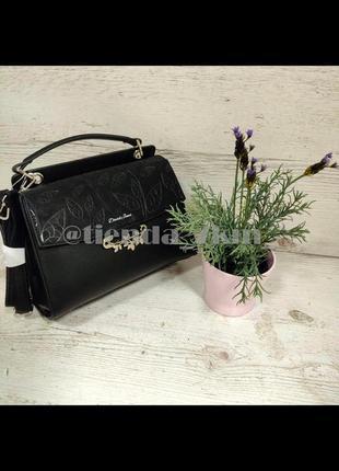 Женственная сумка от david jones с листиком (брошкой) 6001-2t черная