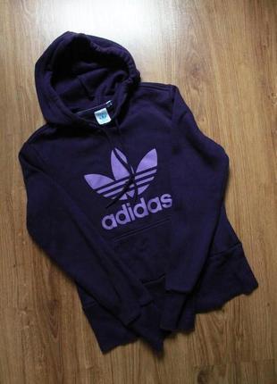 Стильное фиолетовое женское худи с большим лого на ветряную прохладную погоду adidas