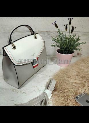 Стильная каркасная сумка через плечо / клатч david jones cm5168t серый