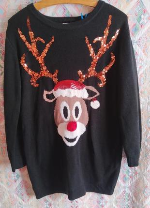 Удлиненный свитер с оленем кофта новогодняя паетки