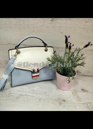 Стильная каркасная сумка через плечо / клатч david jones cm5168t голубой