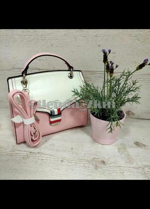 Стильная каркасная сумка через плечо / клатч david jones cm5168t св.розовый