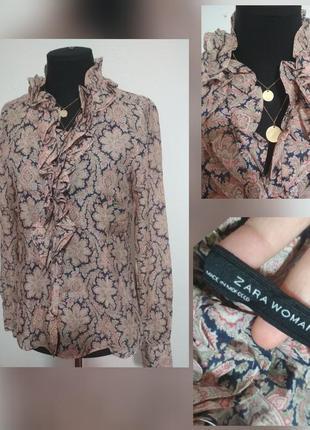 Фирменная роскошная блуза с принтом огурцы и жабо, 100% котон, супер качество!!!