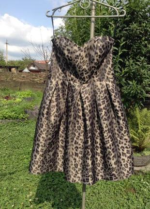 Шикарное платье в анималистичный принт леопард короткое бюстье пышное вечернее