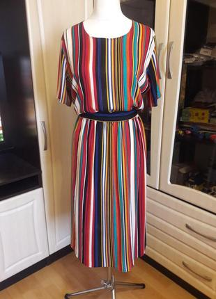 Шикарное натуральное платье в полоску3 фото