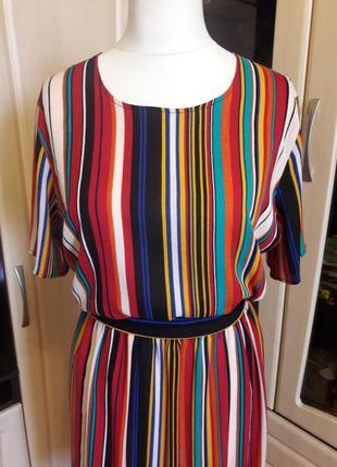 Шикарное натуральное платье в полоску4 фото
