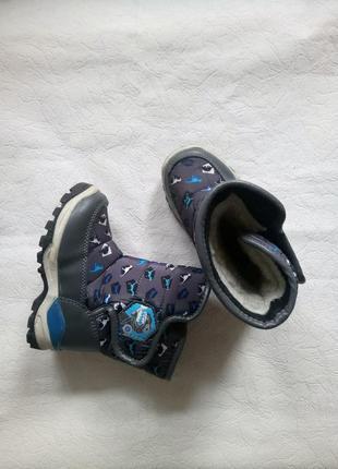 25р.|16см. сапоги|ботинки|дутики на липучке с принтом динозавры с.луч
