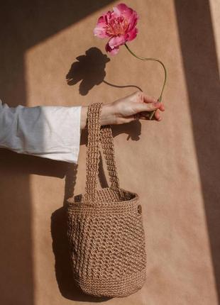 Плетеная сумка-ведро/сумка-корзинка/ french bucket bag / эко-сумка ручной работы