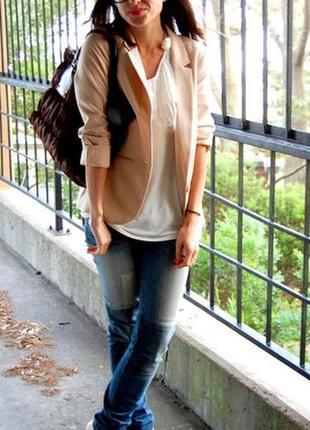 Блейзер пиджак из натурального льна песочного цвета от zara