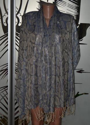 Легкий шарф палантин шелк+пашмина