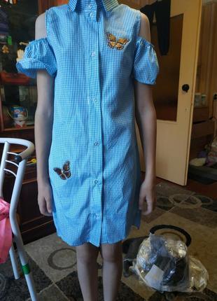 Платье-рубашка для девочек на рост 128,134,152 см