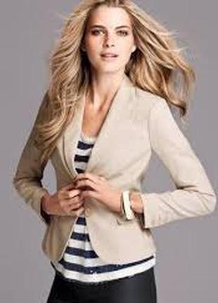 Пиджак блейзер базового бежевого цвета от h&m-xs-ка