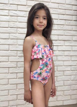 Купальник танкини для девочек с фламинго