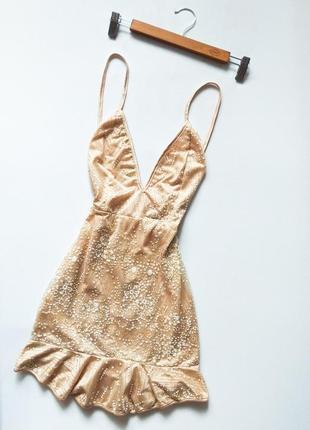 Безумно красивое вечернее платье с открытой спиной бежево золотое