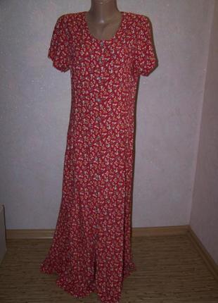Платье-рубашка халат в цветок на пуговках пог-48см