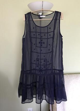 Прозрачное синее платье оверсайз