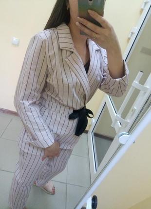 Шикарный льняной брючный костюм летний лён