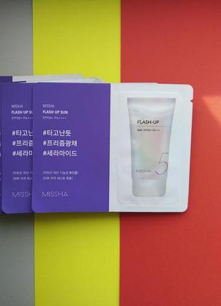 Крем солнцезащитный c эффектом сияния/база под макияж missha flash up sun spf50 pa++++