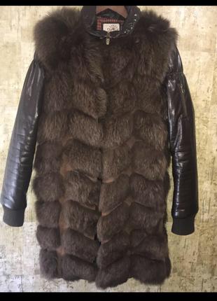 Меховая жилетка, кожаная утепленная куртка