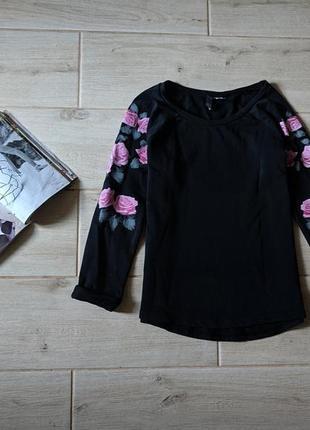 Стильный свитшот кофта цветочный принт xs s